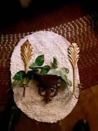 2 wall hanging candles and hanging plant container
