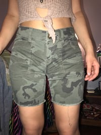 Women's grey and black camouflage shorts