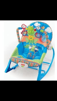 baby's blue and green Fisher-Price rocker