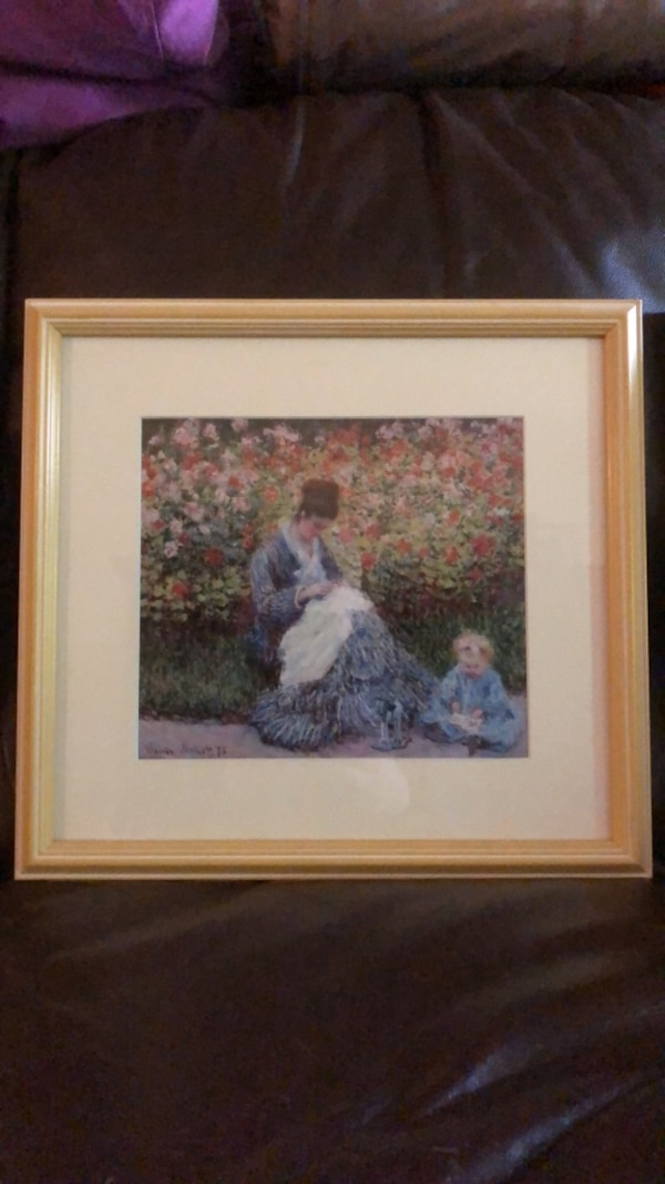 Brown wooden framed beautifully painting of woman