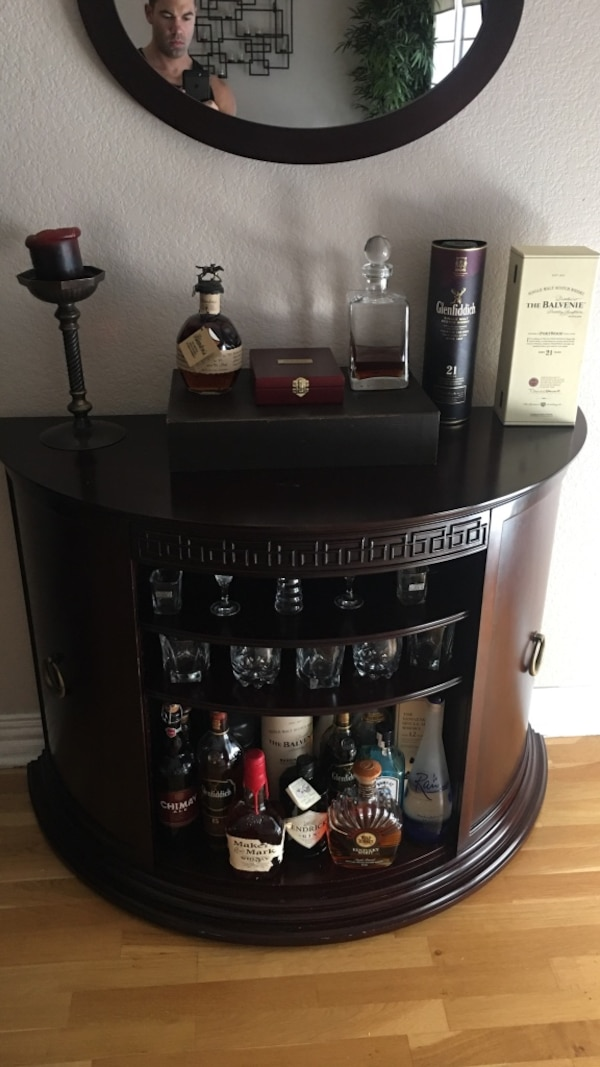 Used Bombay Company High End Bar Cabinet Cherry Wood Finish