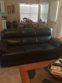 Navy blue leather 3-seat sofa Grapevine, 76051