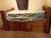 Twin size Captain bed with matress and box springs