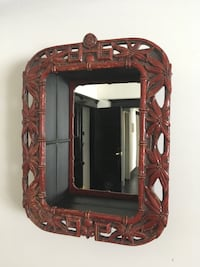 Vintage Mirror with Red Tropical Floral Frame Los Angeles, 90006