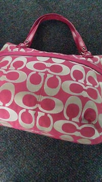 pink and white Coach monogram tote bag Corona, 92882