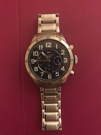 Round silver-color hilfiger chronograph watch with link bracelet