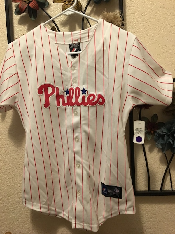 promo code 859c2 de458 white Phillies baseball jersey