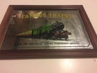 "Vintage 19"" x 14"" Famous Trains of Great Britain Mirror Wilmington"