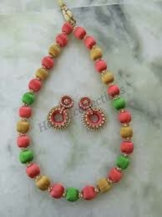 pink, yellow and green beaded necklace with earrings set