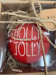 Rae Dunn Holly Jolly Christmas Ornament