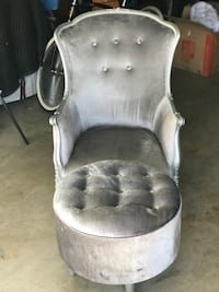 gray and white fabric padded armchair