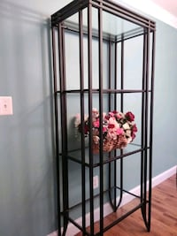 black metal framed glass display cabinet