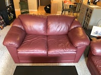 Maroon Leather Couch and Love Seat Vancouver, V5N 1J7