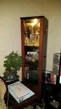 brown wooden framed glass display cabinet Toronto, M3H