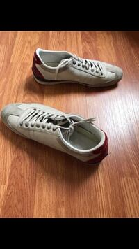 The brand is Lacoste for men and size 9.5. No tears but it is worn. Los Angeles, 91401