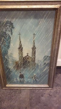 Vintage painting of Vietnamese Church in the rain Chantilly, 20151