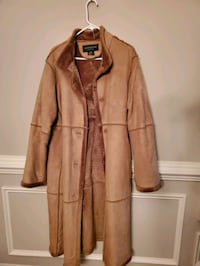 Suede long fur-lined coat