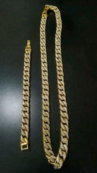 Iced Out Gold Plated Cuban Link Chain + Bracelet