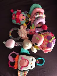Stroller activity toys, rattles - pink