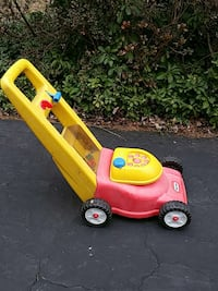 yellow and red little tikes toy push lawn mower Ellicott City, 21042