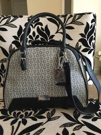 Black and gray leather guess two way bag