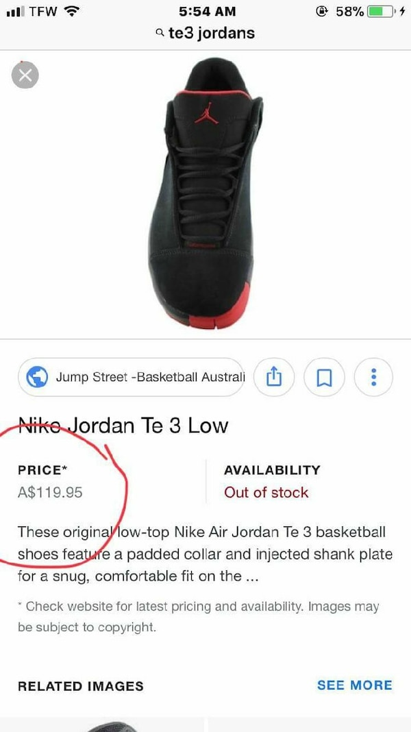 brand new bdf8f ed66a Used unpaired black and red Nike Air Jordan Te 3 low sh for sale in Yankton  - letgo