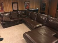 black leather sectional sofa with throw pillows Mc Lean, 22101