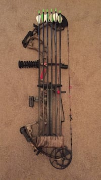 Brown compound bow with arrows Lindenwold