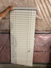 (2) White venetian blinds
