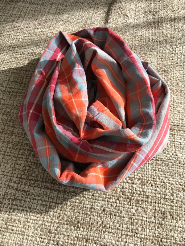 Plaid scarf orange red blue new never been used