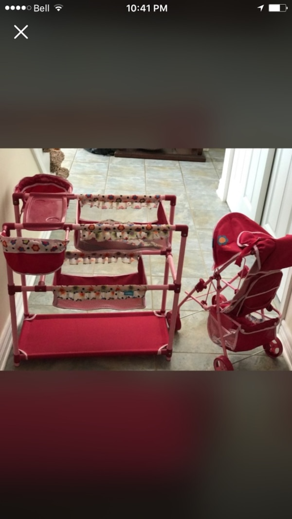 baby's red and white cradle
