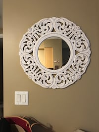 White wood carved mirror 539 km