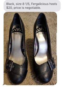 Pair of black leather heeled shoes ONLY SERIOUS BUYERS Brandon, 39042