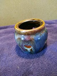 round blue and brown floral ceramic bowl