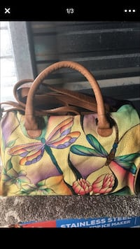 Dragonfly hand painted purse by Anuschka