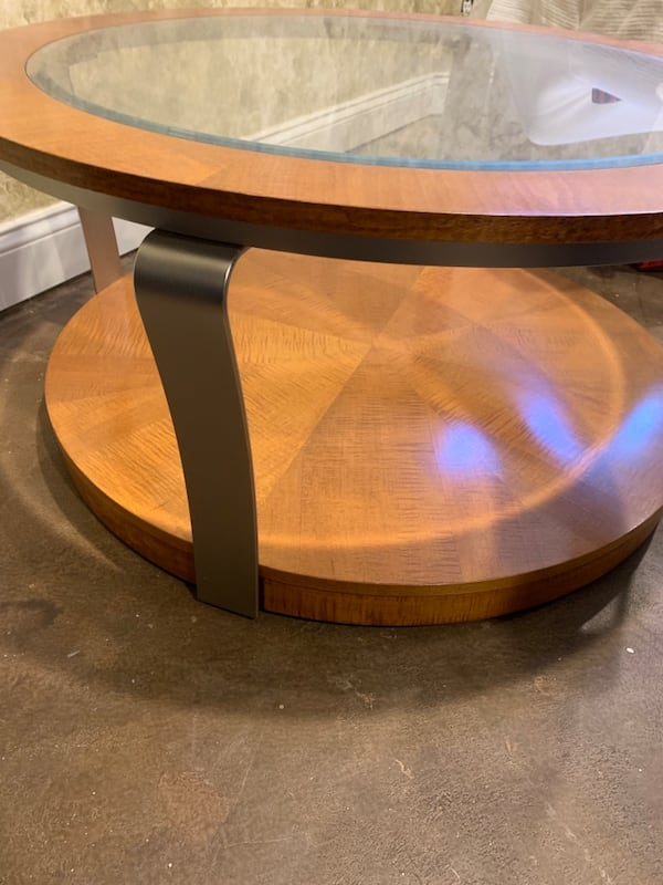 "40"" Round Coffee Table on Wheels 1"