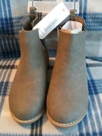 Soft leather gray boots with silver sides