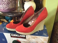 women's pair of red-and-beige suede Kirkland wedge flats with box Islip, 11717