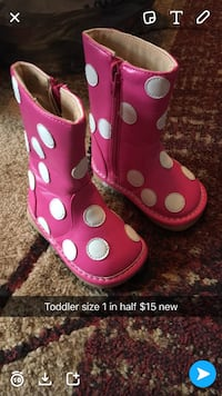 toddler's pink and white polka dot zip boots Cannon, 40953