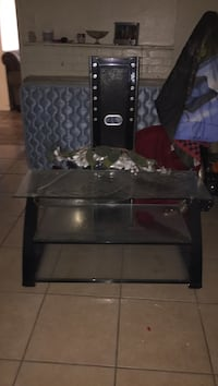 black wooden framed glass top TV stand Fort Smith, 72901