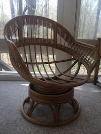 Two rattan papisan chairs