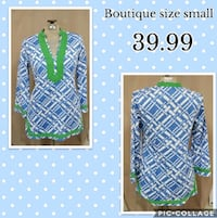 blue and green chevron print long-sleeved shirt Louisburg, 27549