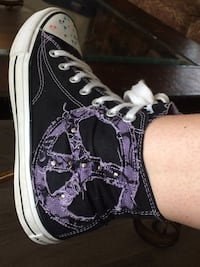 Black/white with purple accents, high-top sneaker. Langley, V3A 1V9