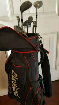 black and red Ping golf bag