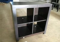 black and gray wooden TV stand
