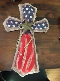 Burlap American Flag Cross Slate Hill, 10973
