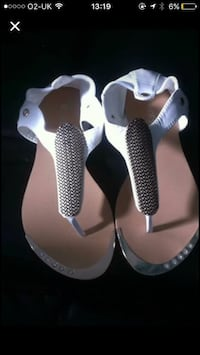 women's pair of brown and white open toe sandals Sittingbourne, ME10 3AD