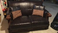 Brown leather 3-seat love seat with brown wood trim. 4 seater sofa also available for $400 Vaughan, L6A 0G2