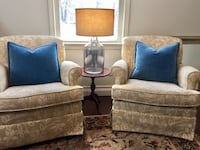 Two beige and white print fabric armchairs Fitchburg, 01420