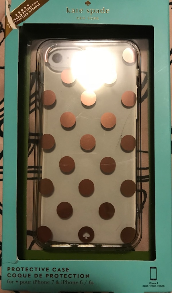 clear and brown Kate Spade polka-dot protective cast for iPhone box